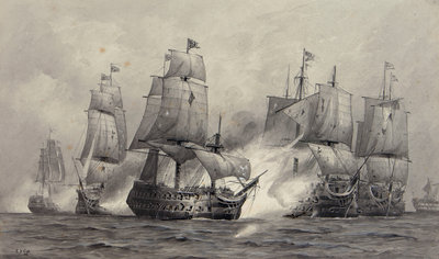 Battle of Cape St Vincent, 1797 by Alma Claude Burlton Cull - print