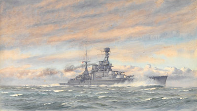Unidentified battleship at sea by Alma Claude Burlton Cull - print