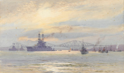 American battleship in the Firth of Forth by Alma Claude Burlton Cull - print
