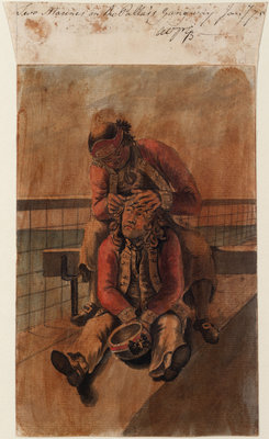 Bray Album: 'Two Marines on the Pallas's Gangway, Jany '75' by Gabriel Bray - print