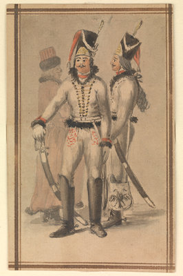 Figures in Russian (?) military uniform by Gabriel Bray - print