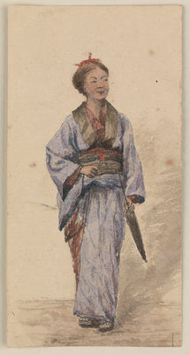 A Japanese girl with a parasol by James Henry Butt - print