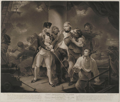Capt. Trollope in the 'Glatton' of 54 Carronades Engaging a French Squadron of 8 Ships of War carrying 230 guns by Henry Singleton - print