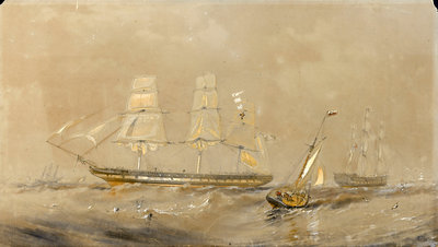 'Agamemnon' at sea, a cutter in the foreground by Oswald Walter Brierly - print