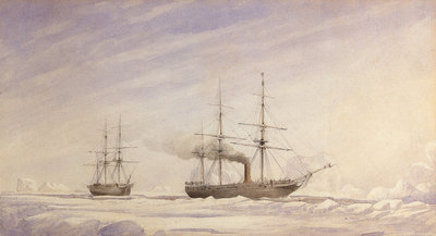 'Phoenix' and 'Breadalbane' in Melville Bay by Edward Augustus Inglefield - print