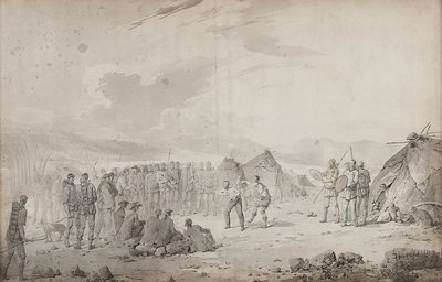 Captain Cook's meeting with the Chukchi in 1778 by John Webber - print