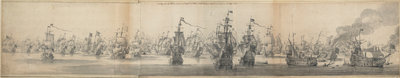 Battle of Solebay by Willem van de Velde the Elder - print