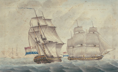 Two Dutch frigates by unknown - print