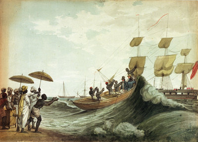 Ship's boat arriving on beach, Madras Fine Art Print by unknown