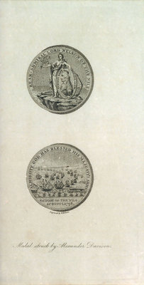 Medal to the memory of Horatio Nelson and the Battle of the Nile by P. Roberts - print