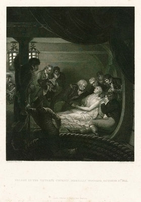Nelson in The Victory's cockpit, mortally wounded, 21 October 1805 by Benjamin West - print