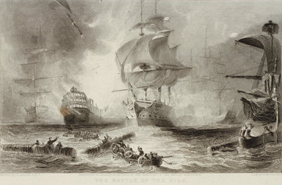 The Battle of the Nile, 1798 by George Arnald - print