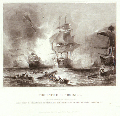 The Battle of the Nile. Presented to Greenwich Hospital by the Directors of the British Institution by George Arnald - print