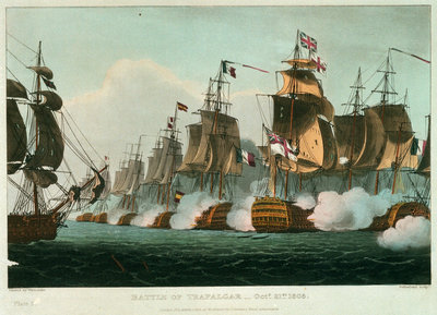 Battle of Trafalgar, 21 October 1805 by Thomas Whitcombe - print