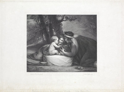 Shakespeare nursed by Tragedy and Comedy by George Romney - print
