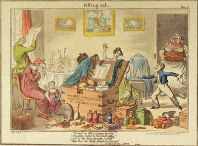 Fitting out Master William Blockhead by George Cruikshank - print