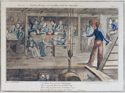 Midshipman Blockhead, Master B finding things not exactly what he expected by George Cruikshank - print