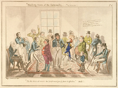 Midshipman Blockhead, Waiting room at the Admiralty by George Cruikshank - print