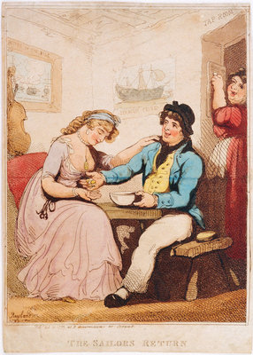 'The Sailor's Return' (caricature): money changes hands in a tavern of uncertain morals by Thomas Rowlandson - print
