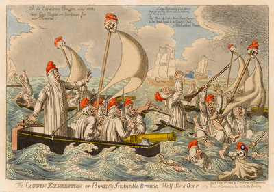 The Coffin Expedition or Boney's Invincible Armada Half Seas Over Wall Art & Canvas Prints by S.W. Fores