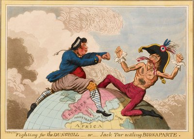 Fighting for the Dunghill, or, Jack Tar Setting Buonaparte by James Gillray - print