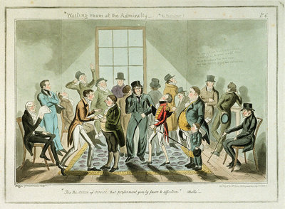 Waiting room at the Admiralty-(No Misnomer) by George Cruikshank - print