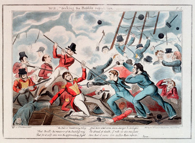 Midshipman Blockhead, Mr B seeking the Bubble reputation by George Cruikshank - print