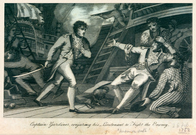 Captain Gardiner, conjuring his Lieutenant to Fight the Enemy' by James Cundee - print