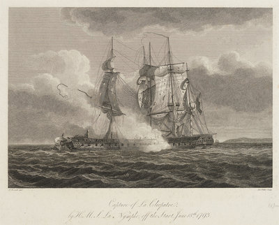 Capture of 'La Cleopatre' by HMS 'La Nymphe' off the Start, 18 June 1793 by Nicholas Pocock - print