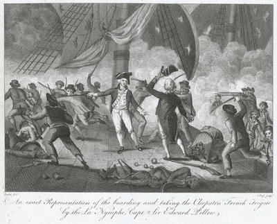Capture of 'La Cleopatre' by HMS 'La Nymphe' off the Start, 18 June 1793 by Robert Dodd - print