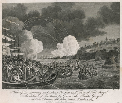 View of the storming and taking the fort and town of Fort Royal in the island of Martinique, by General Sir Charles Grey and Vice Admiral Sir John Jervis, 24 March 1794 by Robert Dodd - print