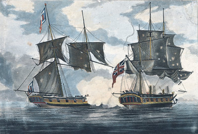 The 'Antilope Packet' beating off 'Le Atalante' a French privateer in the West Indies by William Elmes - print