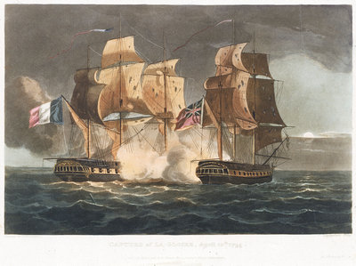 Capture of 'La Gloire', 10 April 1795 by Thomas Whitcombe - print