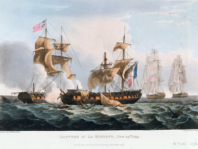 Capture of 'La Minerve' off Toulon, 24 June 1795 by Thomas Whitcombe - print