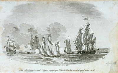 The 'Aristocrat' armed lugger engaging a French flotilla by John Thomas Serres - print