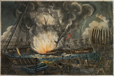 Dreadful Explosion of the Amphion frigate by unknown - print
