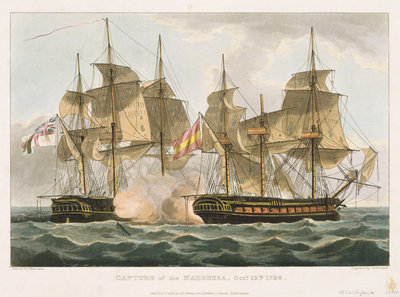 Capture of the 'Mahonesa', 13 October 1796 by Thomas Whitcombe - print