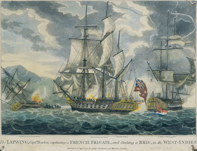 Captain Barton capturing a French frigate and sinking a brig in the West-Indies by William Elmes - print