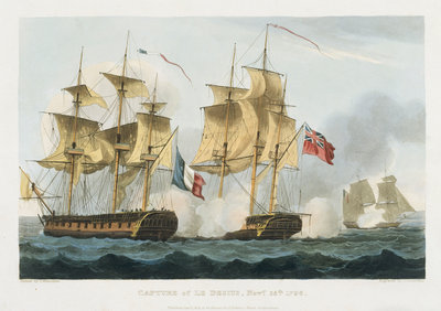 Capture of Le Desius November 25 1796 by Thomas Whitcombe - print