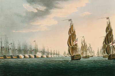 Battle of the Nile, 1 August 1798 by Thomas Whitcombe - print