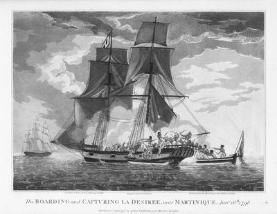 The boarding and capturing of 'La Desiree' near Martinique, 16 January 1798 by William Elmes - print