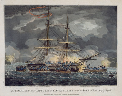 The boarding and capturing of 'L' Avanturier' near the Isle of Bas, 3 August 1798 by William Elmes - print