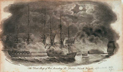 The 'Dart' sloop of war, boarding 'La Desiree' French frigate by Robert Dodd - print