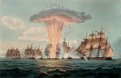 Capture and destruction of four Spanish frigates, 5 October 1804 by Nicholas Pocock - print