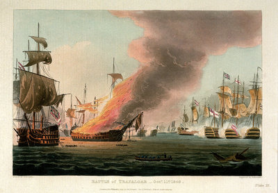 The Battle of Trafalgar, 21 October 1805 by Thomas Whitcombe - print