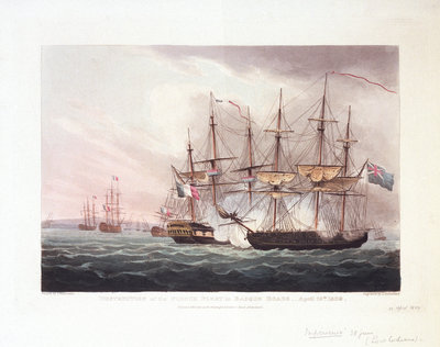 Destruction of the French fleet in Basque Roads, 12 April 1809 by Thomas Whitcombe - print