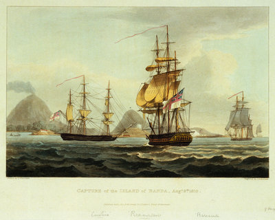 Capture of the Island of Banda, 9 August 1810 by Thomas Whitcombe - print