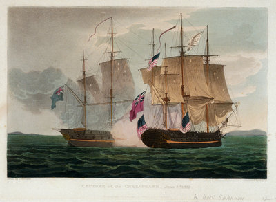 Capture of the 'Chesapeake', 1 June 1813 by Thomas Whitcombe - print