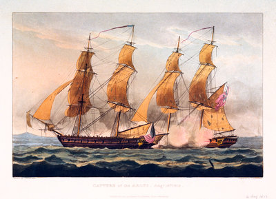 Capture of the 'Argus', 14 August 1813 by Thomas Whitcombe - print