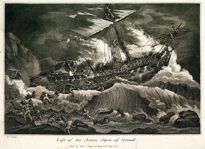 Loss of the Anson frigate, off Cornwall by William Elmes - print
